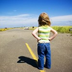 Little girl in the road