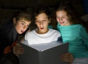 Kids reading reflecting