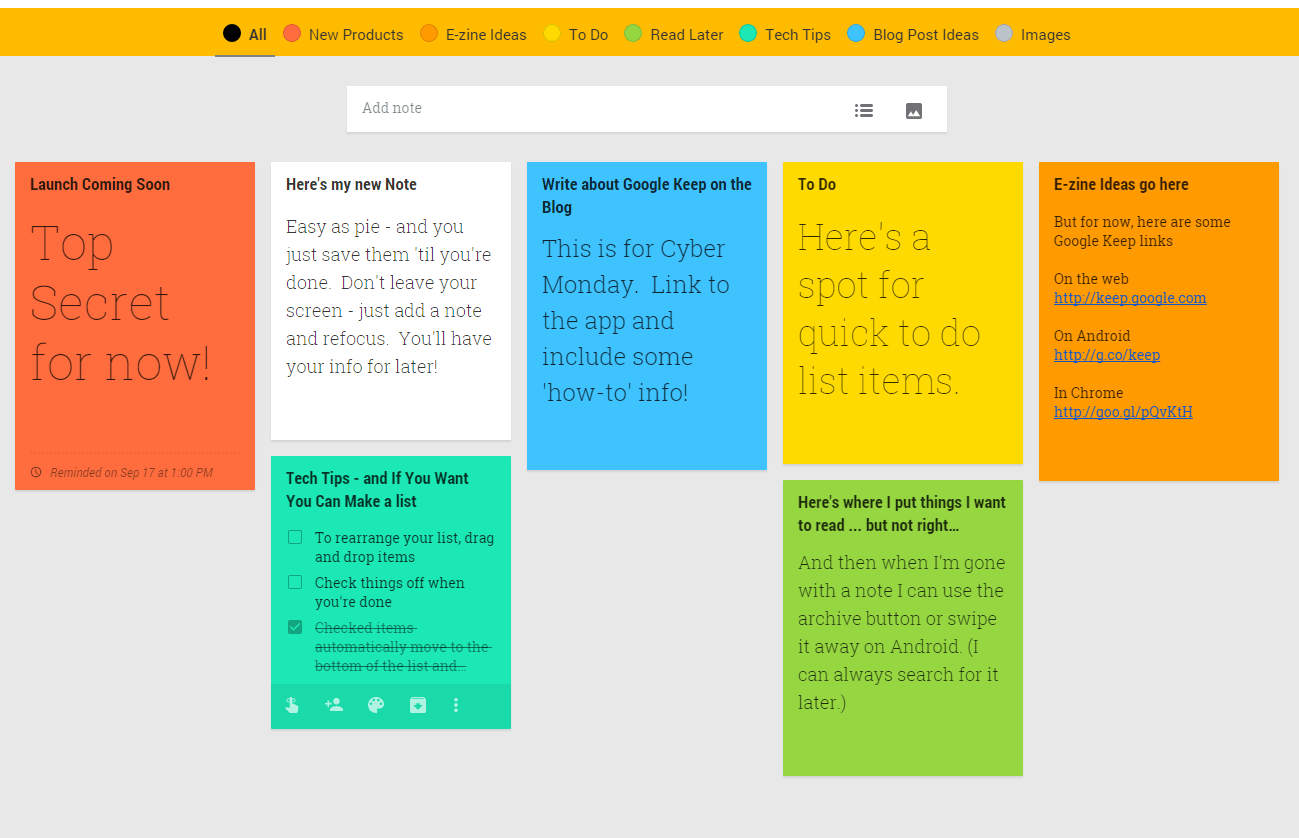 google keep adds color for better organization