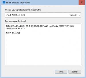 Screenprint of Dropbox Sharing